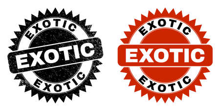 Black rosette EXOTIC seal. Flat vector grunge seal with EXOTIC phrase inside sharp rosette, and original clean template. Watermark with corroded style.