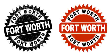 Black rosette FORT WORTH seal. Flat vector textured watermark with FORT WORTH message inside sharp rosette, and original clean template. Watermark with corroded texture.