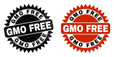 Black rosette GMO FREE seal stamp. Flat vector distress stamp with GMO FREE text inside sharp rosette, and original clean template. Imprint with corroded style.