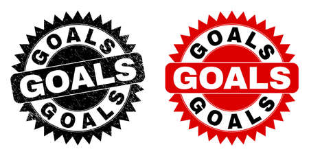 Black rosette GOALS seal stamp. Flat vector textured seal stamp with GOALS text inside sharp rosette, and original clean template. Imprint with distress surface.