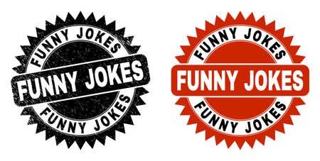 Black rosette FUNNY JOKES seal stamp. Flat vector distress watermark with FUNNY JOKES phrase inside sharp rosette, and original clean source. Watermark with unclean texture. Vector Illustration