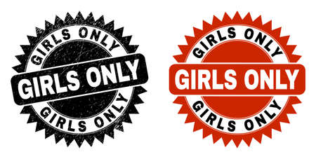 Black rosette GIRLS ONLY seal stamp. Flat vector grunge seal stamp with GIRLS ONLY message inside sharp star shape, and original clean source. Watermark with grunge surface.