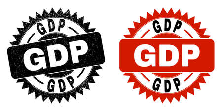 Black rosette GDP seal stamp. Flat vector textured seal stamp with GDP caption inside sharp rosette, and original clean template. Watermark with unclean texture.  イラスト・ベクター素材