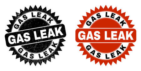 Black rosette GAS LEAK seal stamp. Flat vector scratched stamp with GAS LEAK title inside sharp rosette, and original clean template. Rubber imitation with corroded style. Ilustración de vector