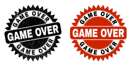 Black rosette GAME OVER stamp. Flat vector scratched watermark with GAME OVER message inside sharp star shape, and original clean template. Watermark with scratched texture.