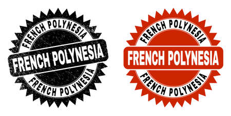 Black rosette FRENCH POLYNESIA seal stamp. Flat vector grunge stamp with FRENCH POLYNESIA message inside sharp rosette, and original clean template. Imprint with grunge style.