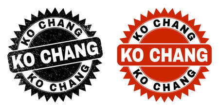 Black rosette KO CHANG seal. Flat vector distress seal with KO CHANG caption inside sharp rosette, and original clean source. Watermark with distress texture.