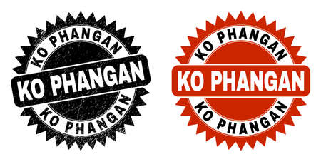 Black rosette KO PHANGAN seal stamp. Flat vector scratched stamp with KO PHANGAN phrase inside sharp rosette, and original clean source. Watermark with scratched surface.