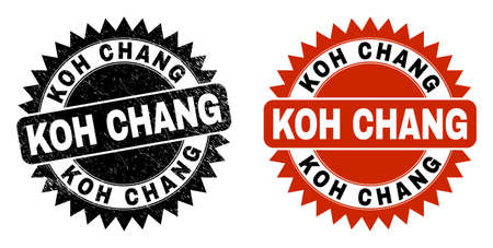 Black rosette KOH CHANG seal. Flat vector distress seal stamp with KOH CHANG phrase inside sharp rosette, and original clean source. Rubber imitation with grunge texture.