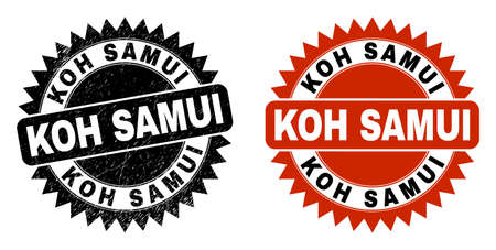 Black rosette KOH SAMUI seal. Flat vector grunge seal stamp with KOH SAMUI caption inside sharp rosette, and original clean source. Watermark with grunge texture.