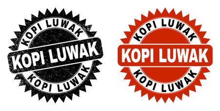 Black rosette KOPI LUWAK stamp. Flat vector grunge seal stamp with KOPI LUWAK message inside sharp rosette, and original clean version. Imprint with unclean texture.