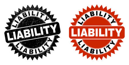 Black rosette LIABILITY seal stamp. Flat vector grunge seal stamp with LIABILITY title inside sharp rosette, and original clean source. Rubber imitation with grunge surface.