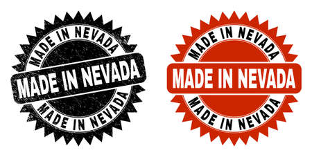 Black rosette MADE IN NEVADA seal stamp. Flat vector textured seal stamp with MADE IN NEVADA text inside sharp rosette, and original clean template. Rubber imitation with grunged style.