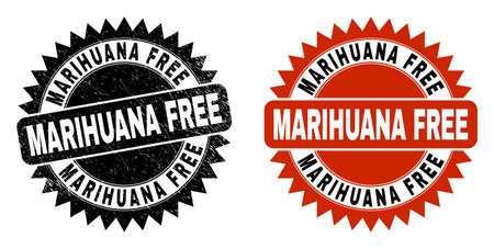 Black rosette MARIHUANA FREE stamp. Flat vector distress stamp with MARIHUANA FREE title inside sharp star shape, and original clean template. Watermark with distress style.
