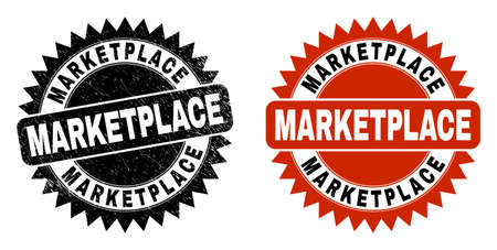 Black rosette MARKETPLACE seal stamp. Flat vector textured seal stamp with MARKETPLACE text inside sharp rosette, and original clean source. Rubber imitation with grunge texture.