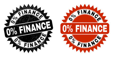 Black rosette 0% FINANCE seal stamp. Flat vector grunge seal stamp with 0% FINANCE message inside sharp rosette, and original clean source. Rubber imitation with scratched texture.