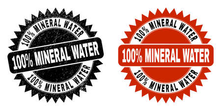 Black rosette 100% MINERAL WATER stamp. Flat vector scratched stamp with 100% MINERAL WATER message inside sharp rosette, and original clean source. Imprint with scratched style.