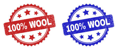 Rosette 100% WOOL seals. Flat vector grunge seals with 100% WOOL message inside rosette with stars, in blue and red color versions. Imprints with corroded texture.