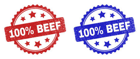 Rosette 100% BEEF seal stamps. Flat vector grunge seal stamps with 100% BEEF caption inside rosette shape with stars, in blue and red color versions. Imprints with grunge style.
