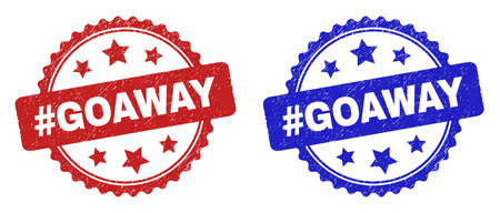 Rosette #GOAWAY stamps. Flat vector scratched seal stamps with #GOAWAY caption inside rosette shape with stars, in blue and red color versions. Imprints with grunged texture.