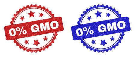 Rosette 0% GMO seal stamps. Flat vector textured watermarks with 0% GMO text inside rosette with stars, in blue and red color versions. Watermarks with corroded texture. Ilustrace