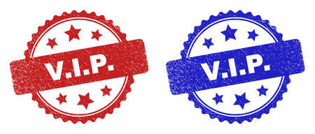 Rosette V.I.P. seal stamps. Flat vector scratched seal stamps with V.I.P. caption inside rosette with stars, in blue and red color versions. Watermarks with grunge surface.
