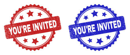 Rosette YOURE INVITED seal stamps. Flat vector scratched seal stamps with YOURE INVITED phrase inside rosette shape with stars, in blue and red color versions. Imprints with unclean style. Vektorgrafik