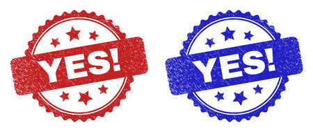 Rosette YES! seal stamps. Flat vector grunge seal stamps with YES! text inside rosette with stars, in blue and red color variants. Rubber imitations with corroded texture.