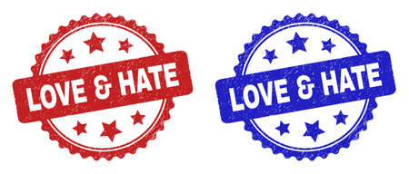 Rosette LOVE & HATE watermarks. Flat vector scratched seals with LOVE & HATE phrase inside rosette shape with stars, in blue and red color variants. Watermarks with grunge texture.