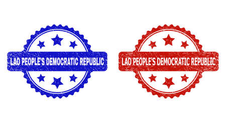 Rosette LAO PEOPLES DEMOCRATIC REPUBLIC watermarks. Flat vector grunge seal stamps with LAO PEOPLES DEMOCRATIC REPUBLIC message inside rosette shape with stars, in blue and red color variants. Ilustração