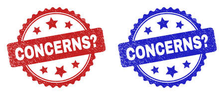 Rosette CONCERNS? seal stamps. Flat vector distress seal stamps with CONCERNS? phrase inside rosette with stars, in blue and red color variants. Imprints with distress surface.