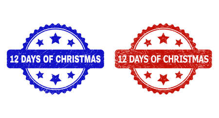 Rosette 12 DAYS OF CHRISTMAS seal stamps. Flat vector distress seal stamps with 12 DAYS OF CHRISTMAS title inside rosette with stars, in blue and red color versions. Imprints with distress surface. Vector Illustration