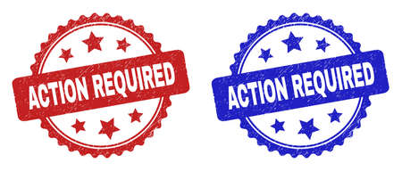 Rosette ACTION REQUIRED seal stamps. Flat vector grunge seal stamps with ACTION REQUIRED title inside rosette shape with stars, in blue and red color versions. Watermarks with corroded texture.