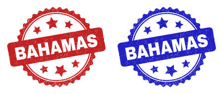 Rosette BAHAMAS seal stamps. Flat vector grunge seal stamps with BAHAMAS title inside rosette shape with stars, in blue and red color variants. Watermarks with corroded surface.