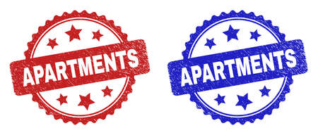 Rosette APARTMENTS watermarks. Flat vector grunge watermarks with APARTMENTS title inside rosette with stars, in blue and red color variants. Watermarks with grunge surface.
