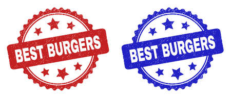 Rosette BEST BURGERS seal stamps. Flat vector textured seal stamps with BEST BURGERS text inside rosette shape with stars, in blue and red color versions. Imprints with corroded texture.