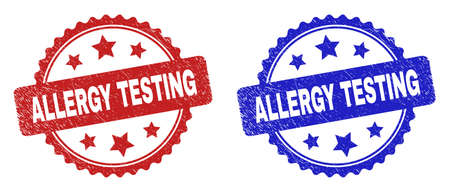 Rosette ALLERGY TESTING seal stamps. Flat vector grunge seal stamps with ALLERGY TESTING message inside rosette with stars, in blue and red color variants. Watermarks with unclean style.