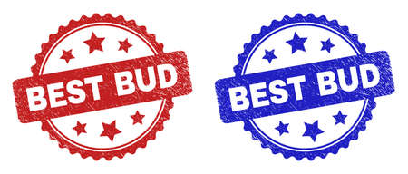 Rosette BEST BUD seal stamps. Flat vector scratched seal stamps with BEST BUD phrase inside rosette with stars, in blue and red color variants. Watermarks with unclean surface.