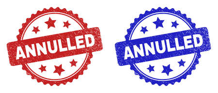 Rosette ANNULLED seal stamps. Flat vector scratched seal stamps with ANNULLED caption inside rosette shape with stars, in blue and red color variants. Rubber imitations with corroded style. Vecteurs