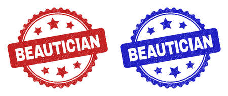 Rosette BEAUTICIAN watermarks. Flat vector scratched watermarks with BEAUTICIAN text inside rosette shape with stars, in blue and red color variants. Watermarks with scratched surface. Vektorové ilustrace