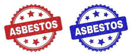 Rosette ASBESTOS seal stamps. Flat vector distress seal stamps with ASBESTOS message inside rosette shape with stars, in blue and red color variants. Watermarks with corroded style.