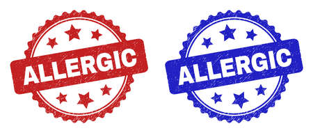 Rosette ALLERGIC watermarks. Flat vector grunge watermarks with ALLERGIC text inside rosette shape with stars, in blue and red color versions. Rubber imitations with grunge surface.