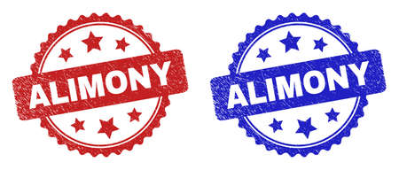 Rosette ALIMONY watermarks. Flat vector scratched seal stamps with ALIMONY message inside rosette with stars, in blue and red color versions. Watermarks with scratched texture.
