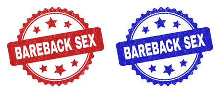 Rosette BAREBACK SEX seals. Flat vector textured watermarks with BAREBACK SEX phrase inside rosette shape with stars, in blue and red color variants. Watermarks with unclean style.