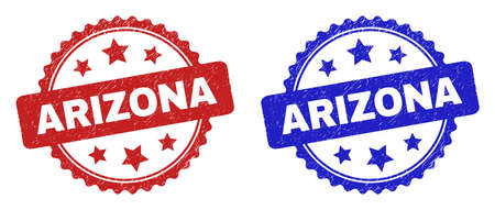 Rosette ARIZONA seal stamps. Flat vector scratched seal stamps with ARIZONA phrase inside rosette with stars, in blue and red color versions. Watermarks with unclean texture.