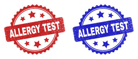Rosette ALLERGY TEST stamps. Flat vector grunge seal stamps with ALLERGY TEST caption inside rosette shape with stars, in blue and red color variants. Imprints with distress surface. Illusztráció