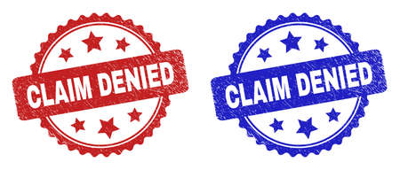 Rosette CLAIM DENIED seal stamps. Flat vector scratched seal stamps with CLAIM DENIED phrase inside rosette shape with stars, in blue and red color versions. Rubber imitations with grunge style.