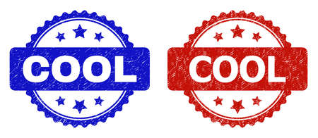 Rosette COOL seal stamps. Flat vector scratched seal stamps with COOL title inside rosette shape with stars, in blue and red color variants. Watermarks with grunge texture. Ilustrace
