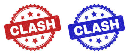 Rosette CLASH stamps. Flat vector scratched seal stamps with CLASH title inside rosette shape with stars, in blue and red color variants. Imprints with unclean texture.
