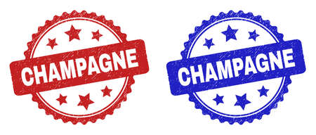 Rosette CHAMPAGNE seal stamps. Flat vector grunge seal stamps with CHAMPAGNE message inside rosette shape with stars, in blue and red color variants. Imprints with scratched surface.